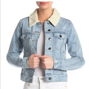 Rebecca Minkoff denim studded shearling jacket Sm